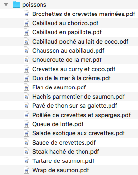 Liste des recettes de plats (poisson)