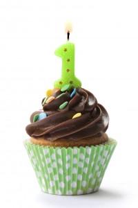 bougie 1 an sur un cup cake