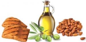 Saumon,huile d'olive,amandes