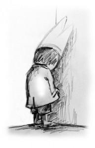 enfant avec bonnet d'ane au coin