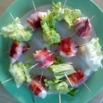 recette paleo poulet et wrap de bacon salade
