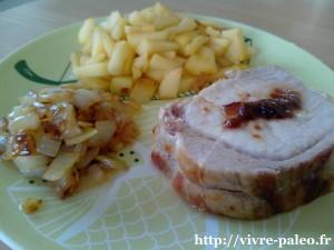 roti de porc aux pommes et oignons